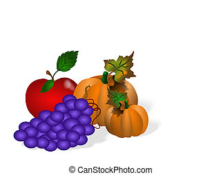 Fall Harvest - Fruits and vegatables isolated drawing. ...
