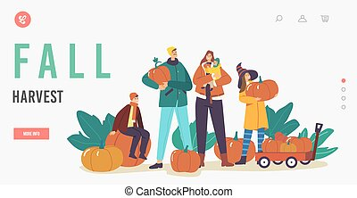 Fall Harvest Landing Page Template. Happy Family Picking Pumpkins at Garden. Mother, Father and Children Harvesting