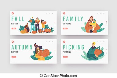 Fall Harvest Landing Page Template Set. Happy Family Characters Picking Pumpkins at Garden. Mother, Father and Children