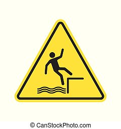 Fall hazard sign. Vector.