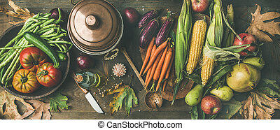 Fall healthy cooking background, wide composition