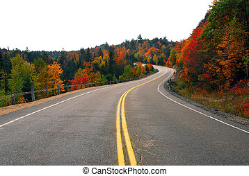 Fall highway - Fall scenic highway in northern Ontario,...