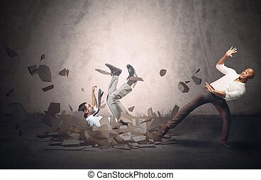 Fall in crisis - Businessmen fall and collapse because of...