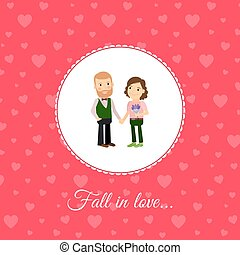 Fall in love couple card template