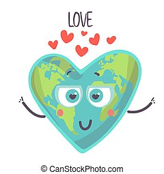 Fall in love Cute earth character with heart. illustration vector. cartoon character isolated on a white background.