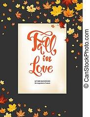 Fall in love on dark background