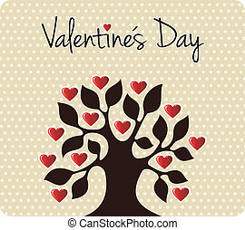 Fall in love Valentines day tree - Tree silhouette with...