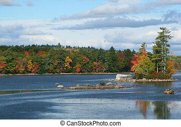 Fall in Maine - Maine Lake Fall Scene