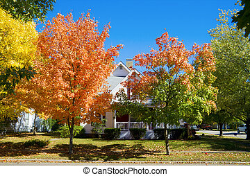 Fall in small town - Colorful fall scene in a small town in ...
