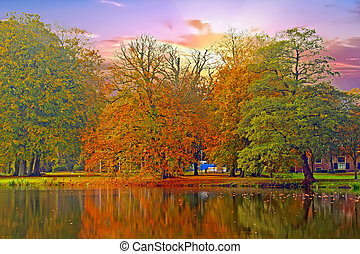 Fall in the Netherlands at sunset