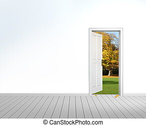 Fall is coming - rendering of an empty room with opened door...