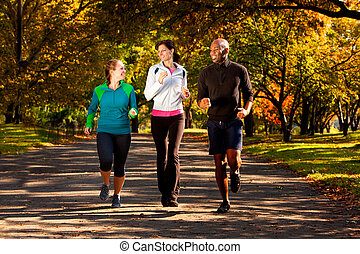 Fall Jog Park - Three people jogging in the park on a...
