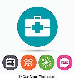 fall, läkare, medicinsk, symbol., underteckna, icon.