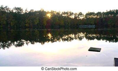 fall lake sunset