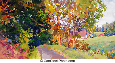 fall landscape in lower saxony - hand painted acrylic paint sketch