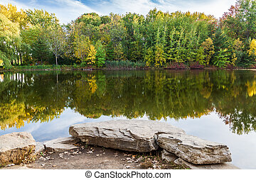 Fall landscape in park of Montreal