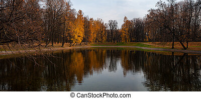 Fall landscape: lake and trees with reflections on a water