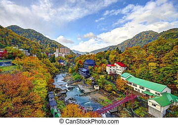 Fall landscape of Jozankei, Japan. The city is a hot springs resort town.