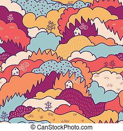 Fall landscape seamless pattern background