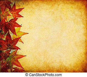 Fall Leaf Margin - A margin of autumn leaves on a vintage,...