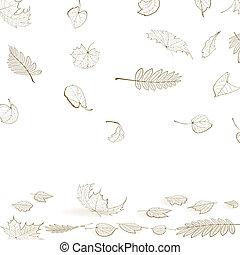 Fall leaf skeletons autumn design template.