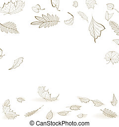 Fall leaf skeletons autumn design template.