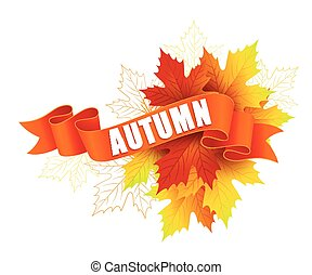 Fall leave with ribbon banner. Vector illustration