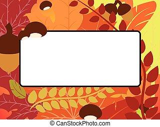 Fall leaves, acorn, chestnut frame