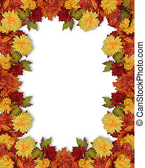 Image and illustration composition for Thanksgiving, Fall, Autumn Leaves, page border or template with copy space.