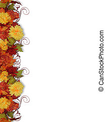 Fall Leaves and Flowers border - Image and illustration ...