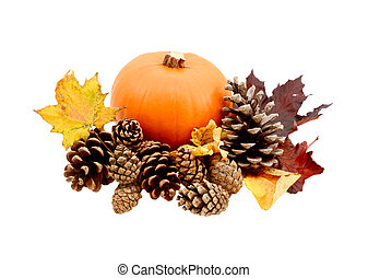 Fall leaves and pine cones with a ripe pumpkin