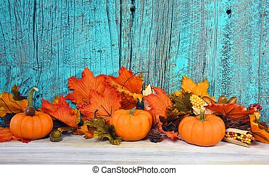 fall leaves and pumpkins