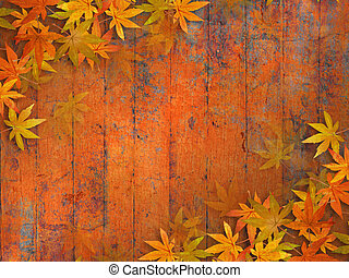 Fall leaves background - Grunge autumn design with fall ...