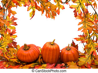fall leaves border - Fall leaves with pumpkins isolated on...