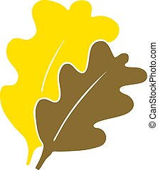 fall leaves flat color style cartoon