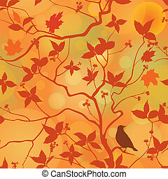 Fall leaves floral seamless pattern. Autumn forest background with bird on branch