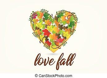 Fall leaves heart shape logo