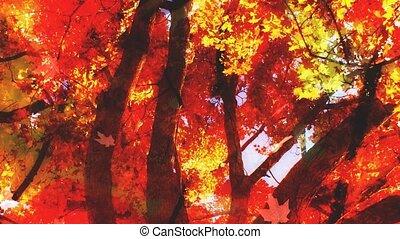 Fall Season Leaves Falling Looping Background