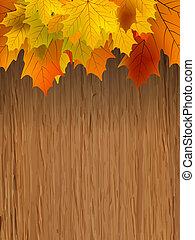 Fall leaves making border on wooden. EPS 8