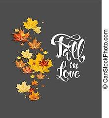 Fall leaves on dark background