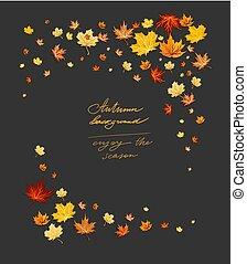 Fall leaves on dark frame