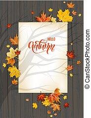Fall leaves on dark wood background