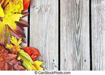 Fall leaves on old wood