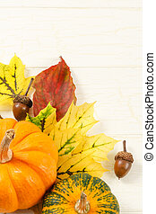 Fall Leaves With Gourds And Accorns - Overhead view of ...