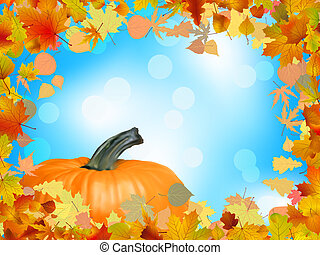 Fall leaves with pumpkin and sky background. EPS 8