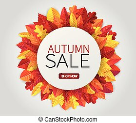 Fall leaves wreath with a circle banner for text. Autumn sale promo. Vector illustration.