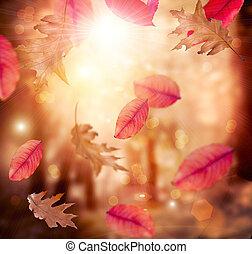 fall., liście, autumn., tło., jesienny