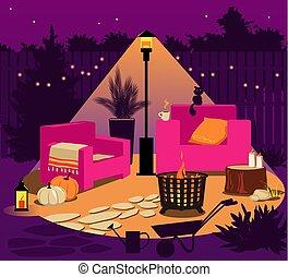 Fall lighting and d?cor for a backyard