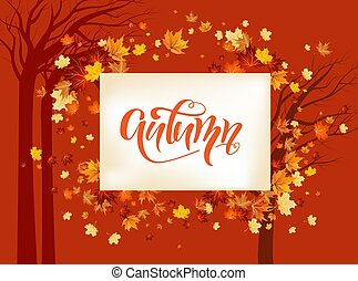 Fall maple leaves background.
