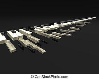 3d illustration of many long keyboard falling